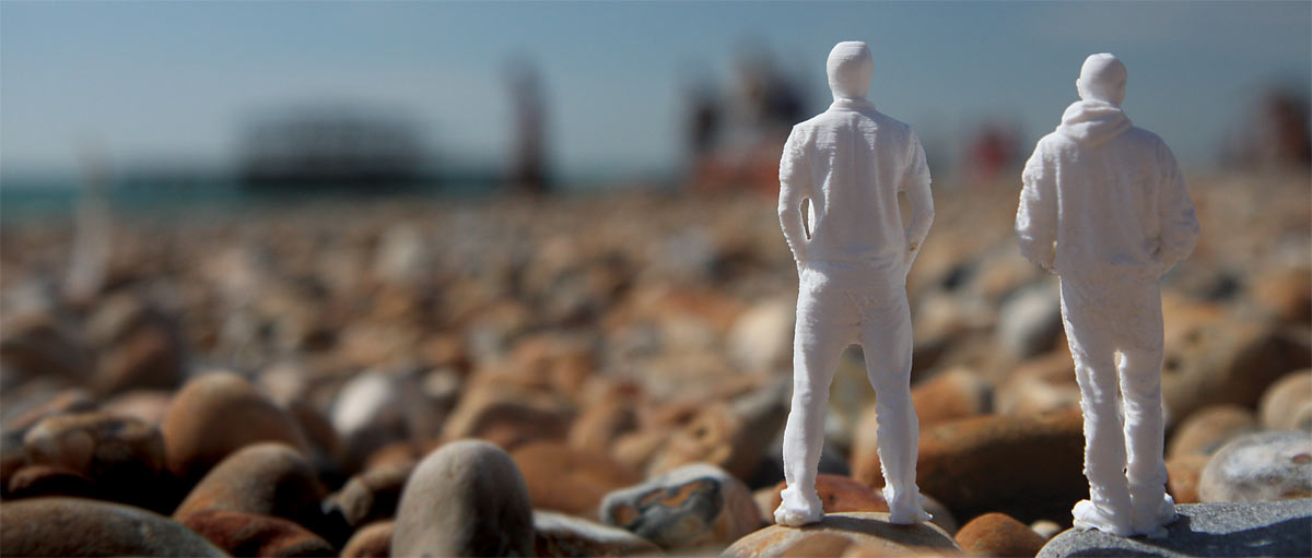 3D printed mini figures on Brighton beach