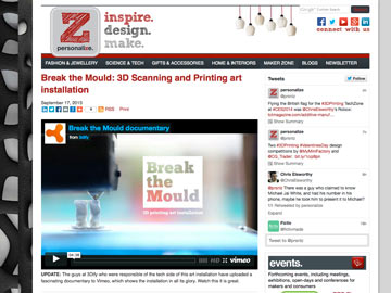 Personalize: Break the Mould 3D scanning and printing art installation